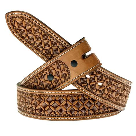 Antiqued Leather Belt with Waffle Stamp