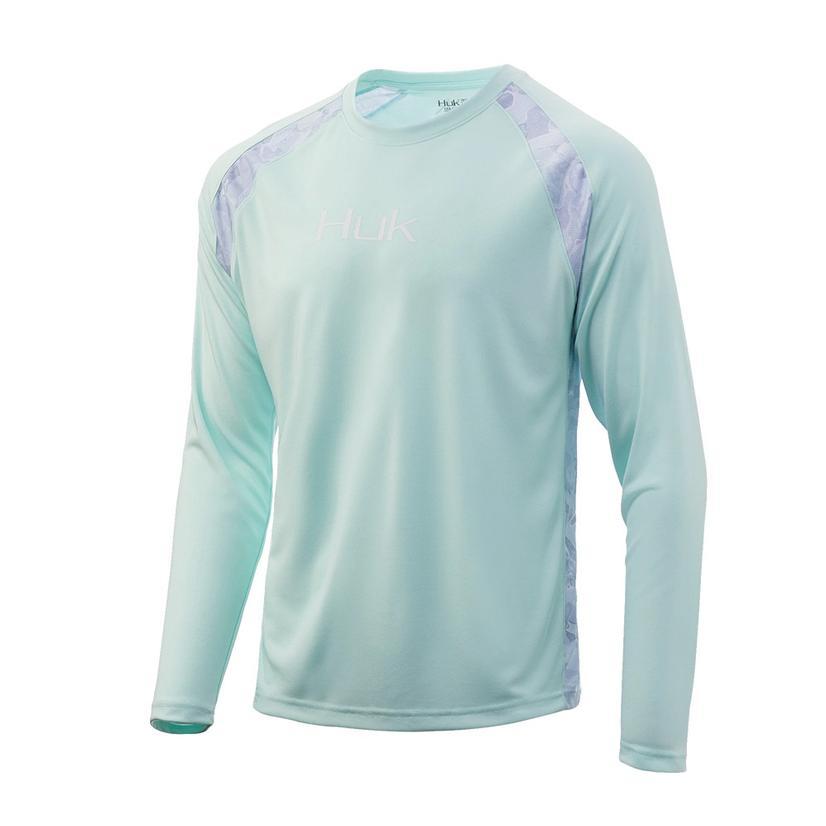 Huk Strike Solid In Seafoam Long Sleeve Men's Shirt