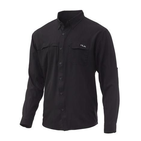 Huk Tide Point Black Solid Long Sleeve Men's Buttondown Shirt