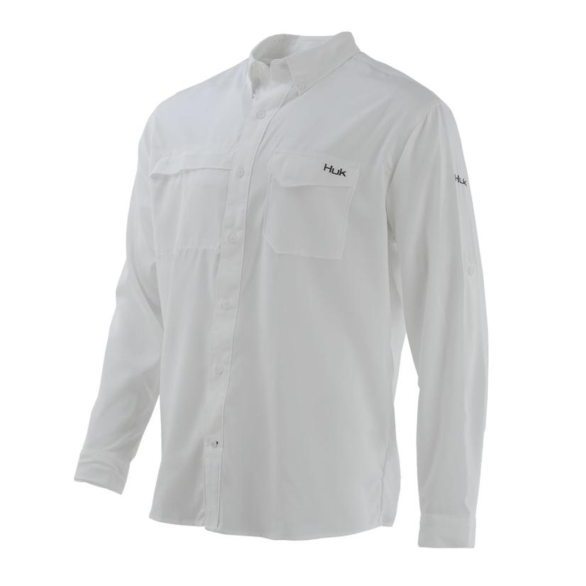 Huk Tide Point White Solid Long Sleeve Buttondown Men's Shirt