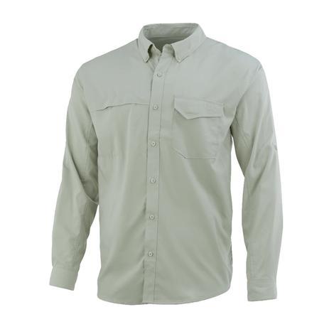 Huk Tide Point Desert Sage Solid Long Sleeve Buttondown Men's Shirt
