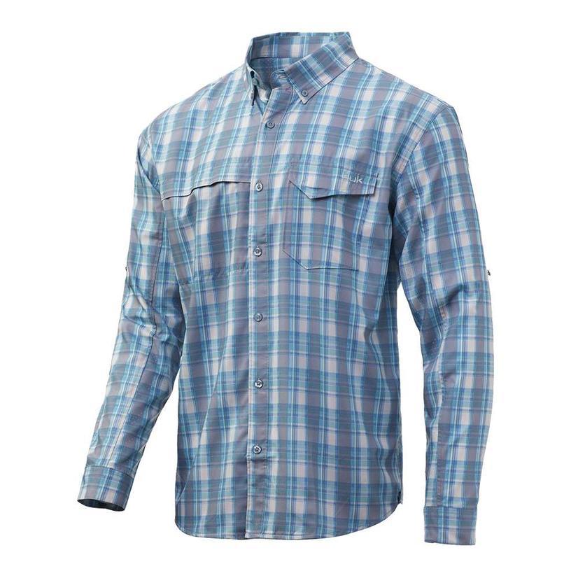 Huk Tide Point Silver Blue Plaid Long Sleeve Buttondown Men's Shirt
