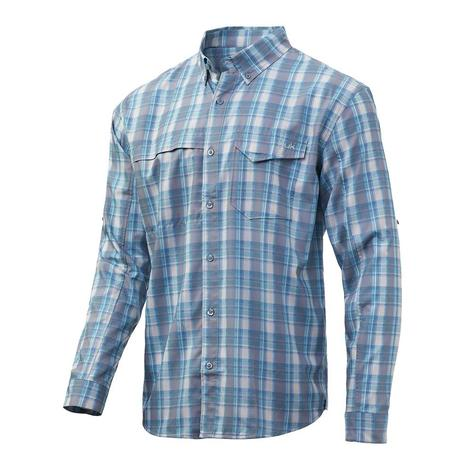 Huk Tide Point Silver Blue Plaid Long Sleeve Buttondown Men's Shirt