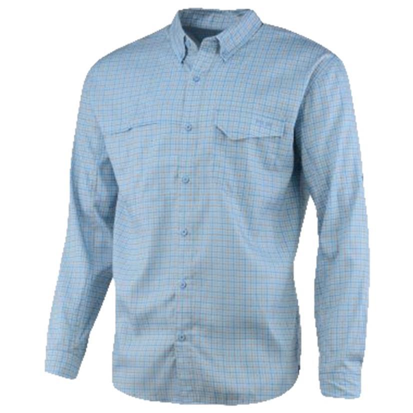 Huk Tide Point Plaid Carolina Blue Plaid Long Sleeve Buttondown Men's Shirt