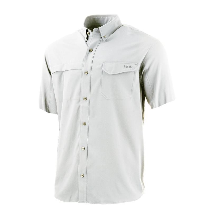 Huk Tide Point Solid White Short Sleeve Men's Shirt