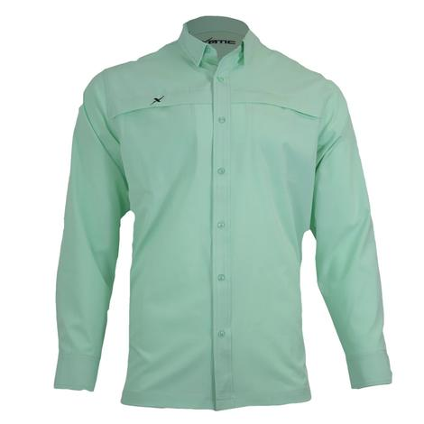 Xotic Ice Green Long Sleeve Men's Buttondown Fishing Shirt
