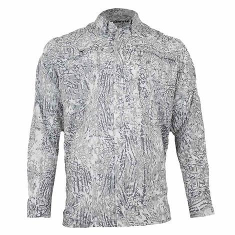 Xotic Artic Camo Long Sleeve Buttondown Men's Fishing Shirt
