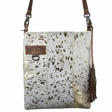 American Darling Bag Cross Body Acid Wash Gold Tan and White Hide