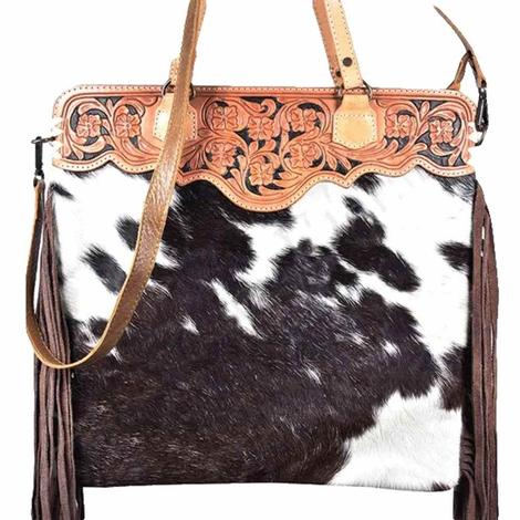 American Darling Brown and White Hair on Hide Shoulder Bag with Crossbody Strap and Fringe