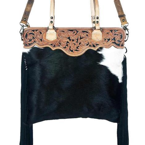 American Darling Black and White Hide Tooled Leather Shoulder Bag