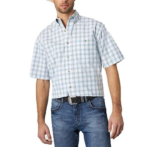 Wrangler George Strait Turquoise and White Plaid Short Sleeve Men's Shirt