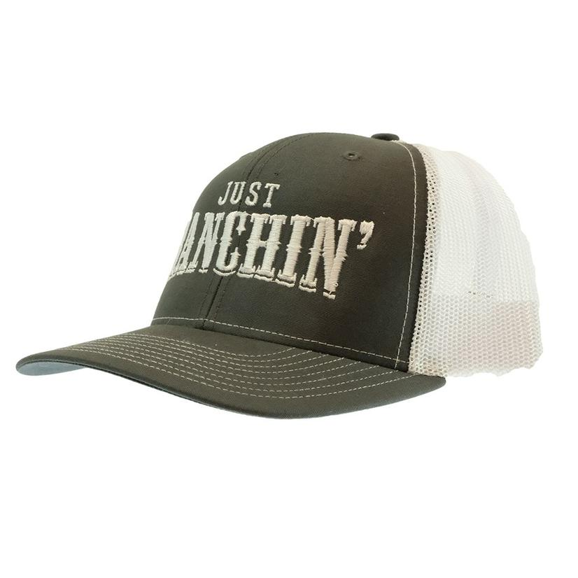 Dale Brisby Just Ranchin ' White Grey Meshback Cap