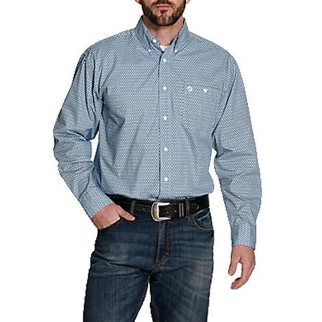 Wrangler George Strait Purple Blue Print Long Sleeve Buttondown Men's Shirt