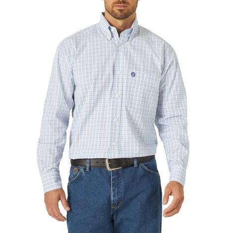 Wrangler George Strait One Pocket Blue Plaid Buttondown Men's Shirt