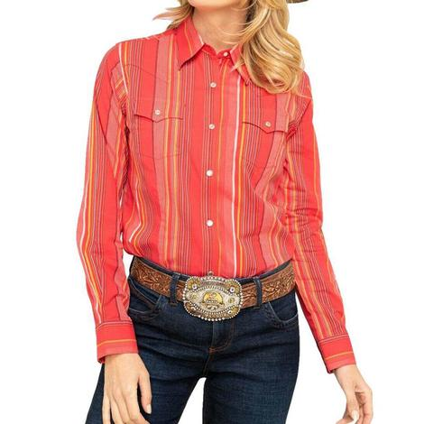 Wrangler Red Stripe Long Sleeve Snap Girl's Shirt