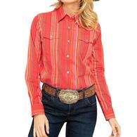 Wrangler Red Stripe Long Sleeve Snap Girl's Shirt