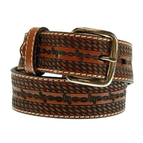 Barbed Wire Tooled Brown Kid Belt