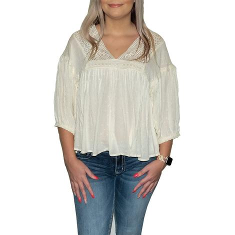 Swiss Dot Texture Blouse with V-Neck and Embroidered Sleeve