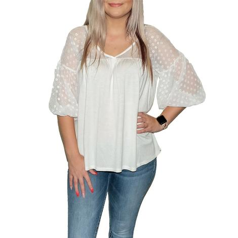 Babydoll Blouse with a V-Neck and Drop Shoulder