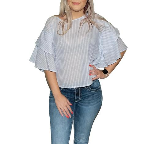 Blue and White Stripe Butterfly Sleeve Blouse