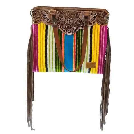 American Darling Striped Serape Blanket Handbag with Fringe and Shoulder Strap