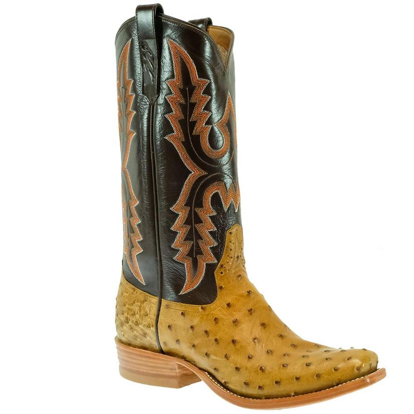 Rios Of Mercedes Chocolate Antique Saddle Full Quill Ostrich Men's Boots