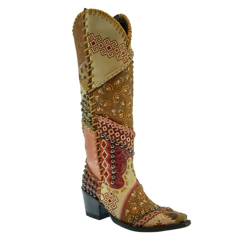 Double D Ranch Tall Blowout Beige Pink Women's Patchwork Boots