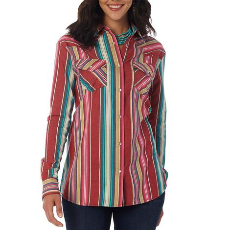 Wrangler Multi-Stripe Long Sleeve Snap Women's Shirt