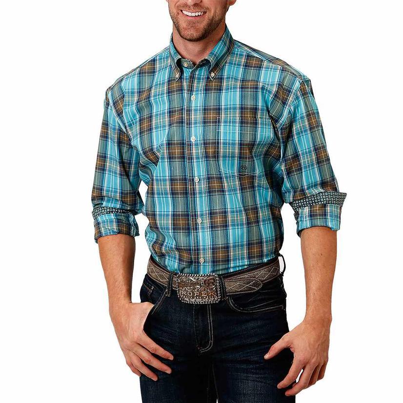 Roper Green Blue Plaid Buttondown Long Sleeve Men's Shirt