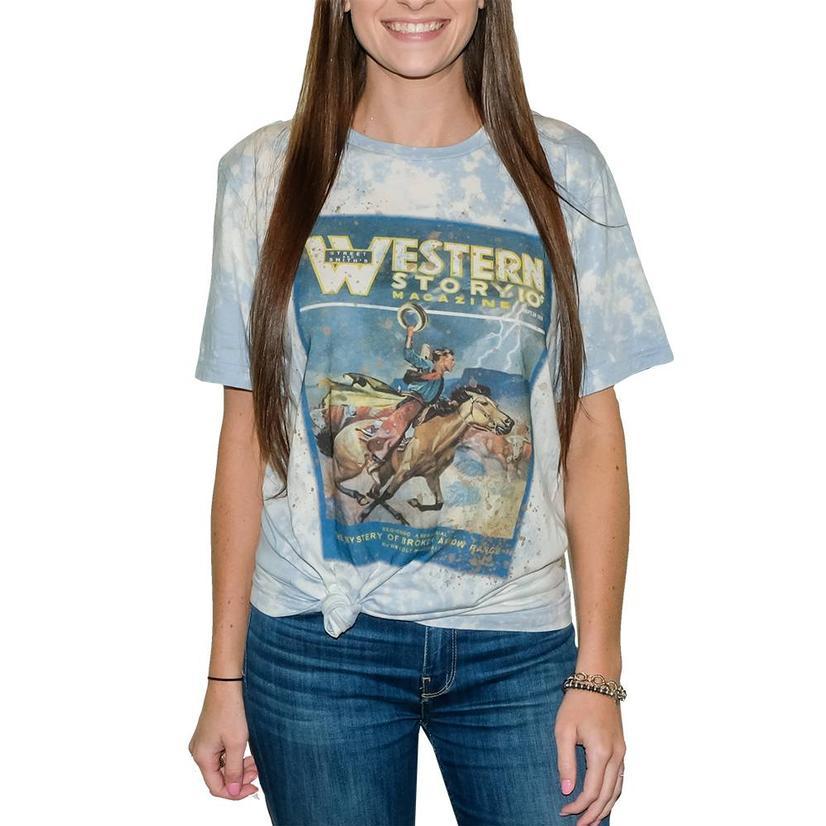 Night Rider Baby Blue Bleached Short Sleeve T- Shirt