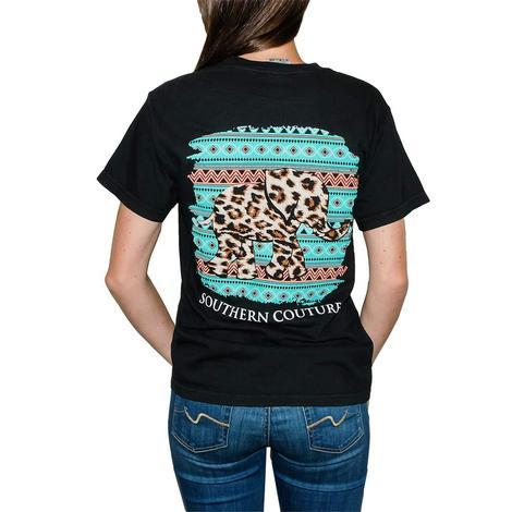 Leopard Print Elephant Midnight Black Short Sleeve T-Shirt