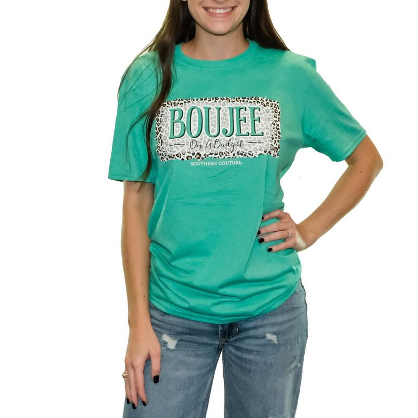 Heather Seafoam Green On A Budget Short Sleeve T- Shirt