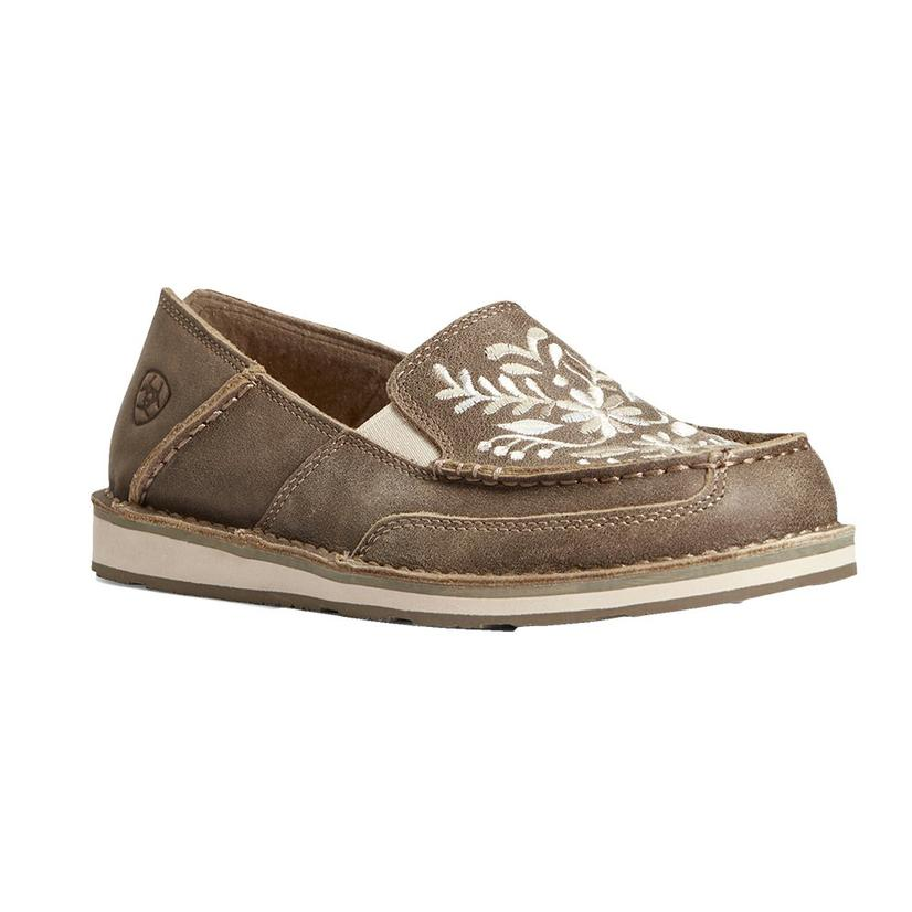Ariat Brown Bomber And White Embroidered Women's Cruiser Shoes