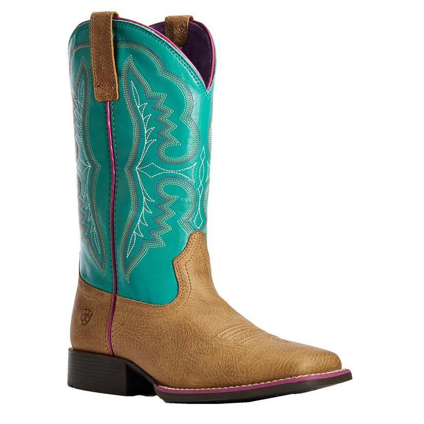 Ariat Light Tan Turquoise Cowhide Kid And Youth Boots