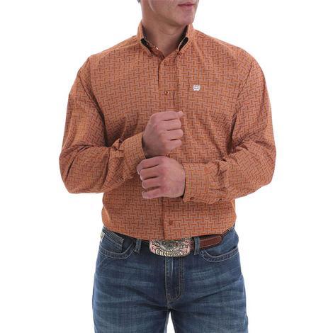 Cinch Brown Orange Print Long Sleeve Buttondown Men's Shirt