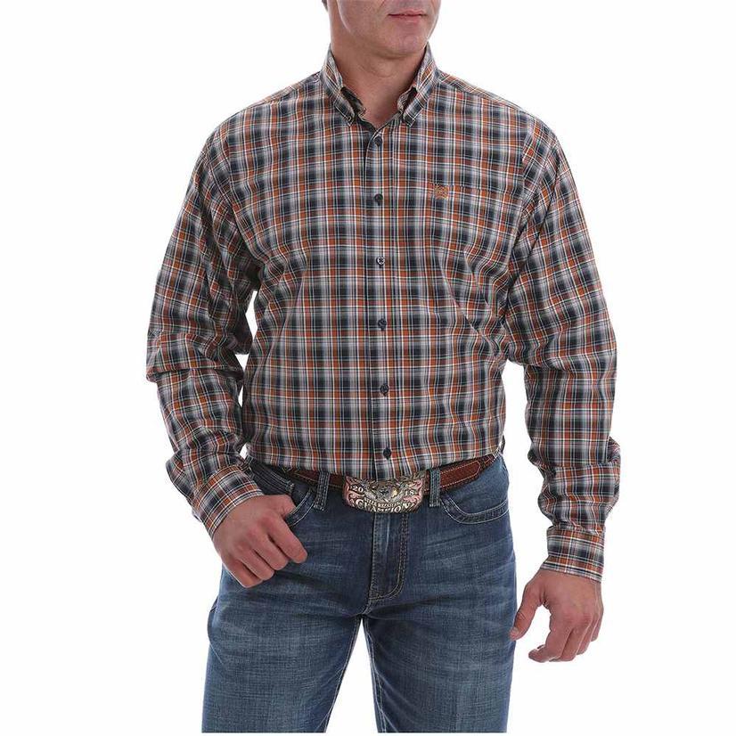 Cinch Navy Orange Plaid Long Sleeve Buttondown Men's Shirt