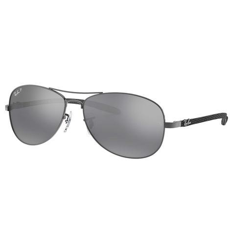 Ray-Ban Gunmetal Grey Carbon Fiber Frame with Polaraized Silver Mirror Lens Sunglasses