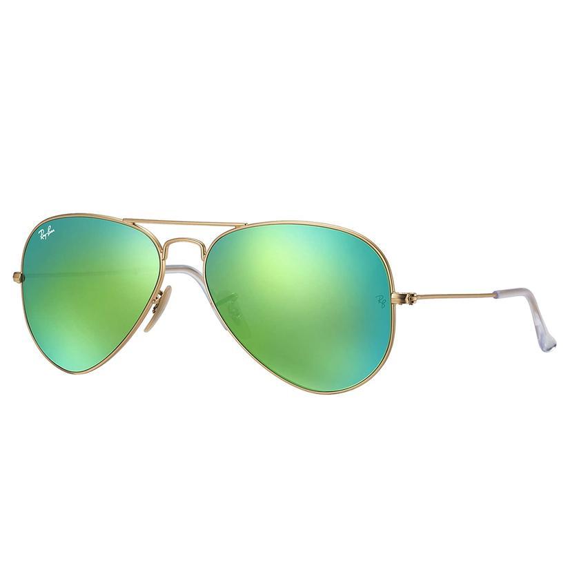 Ray- Ban Aviator Classic Green Flash Matte Gold Metal Sunglasses