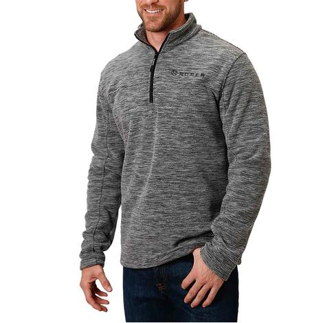 Roper Grey Micro Fleece Quarter Zip Men's Pullover