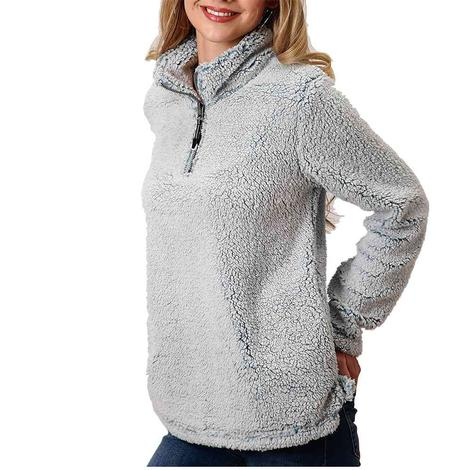 Roper Blue Polar Fleece Quarter Zip Women's Pullover