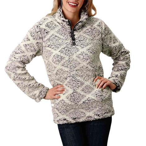 Roper Black Print Polar Fleece Quarter Zip Women's Pullover