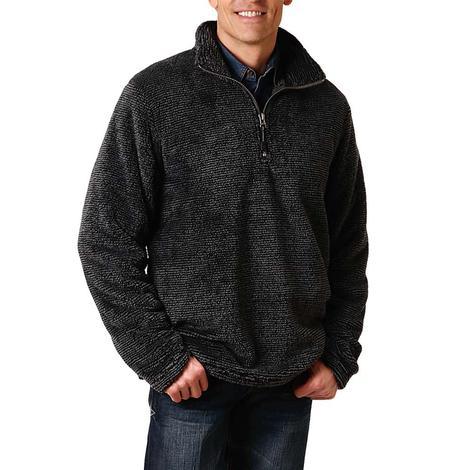 Roper Dark Grey Polar Fleece Quarter Zip Men's Pullover