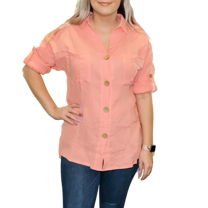 Soft Pink V- Neck Buttondown Long Sleeve Women's Blouse