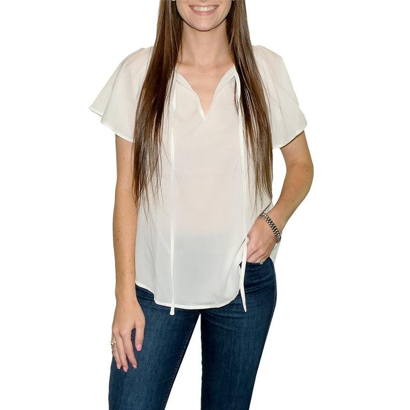 Short Sleeve Flowy Women's Top WHITE