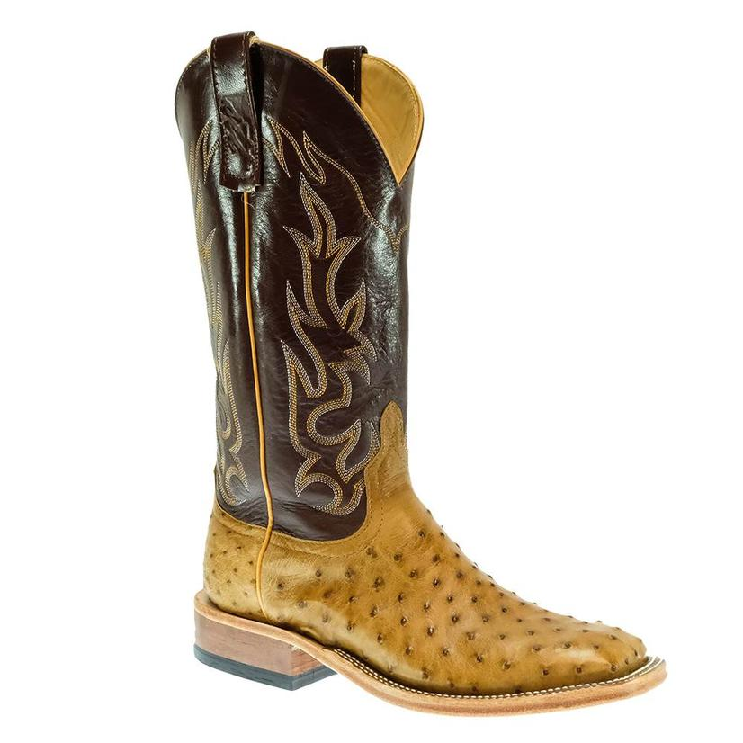Men's Anderson Bean Antique Saddle Full Quill Ostrich Mahogany Kidskin Boots