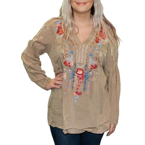 Mocha Embroidered Women's Plus Size Top