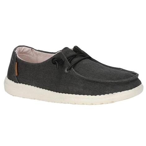 Hey Dude Wendy Off Black Linen Chambray Women's Shoe