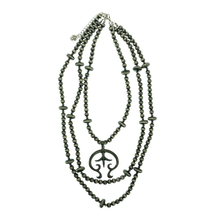 West & Company 3 Strand Faux Navajo Pearl Necklace Set With Burnished Silver Naja Pendant