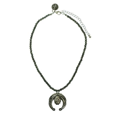 West & Co Dainty Faux Navajo Pearl Necklace with Naja Pendant