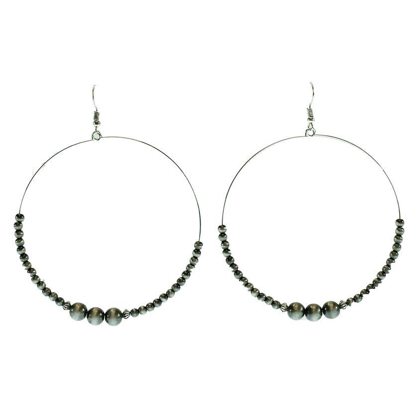 West & Company Faux Navajo Pearl Wire Beaded Dangle Hoop Earrings